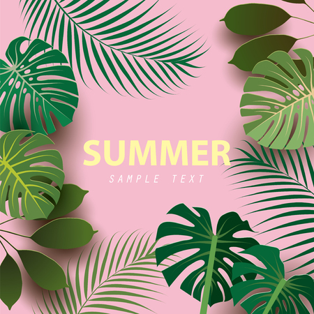 Summer background with tropical plants. Paper cut style. Vector illustration