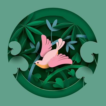 Bird in the thickets of plants. Paper cut style. Spring Summer composition. Vector illustration