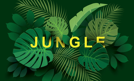 Tropical leaves. Paper cut style. Spring  Summer composition. Vector illustration