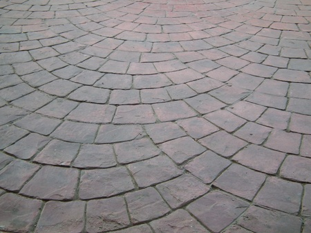 brick floor: Piso de ladrillo curvo