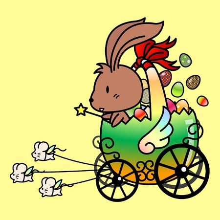 Cute easter rabbit carrying easter eggs to distribute to children
