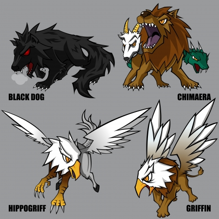 mythological character: 4 Graphic Of Mythical Creatures Set 04
