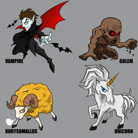 4 Graphic Of Mythical Creatures Set 06 Vector