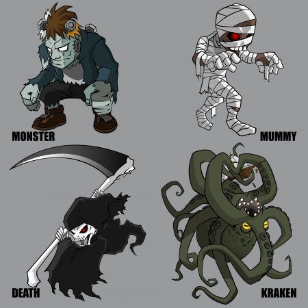 mythological character: 4 Graphic Of Mythical Creatures Set 07
