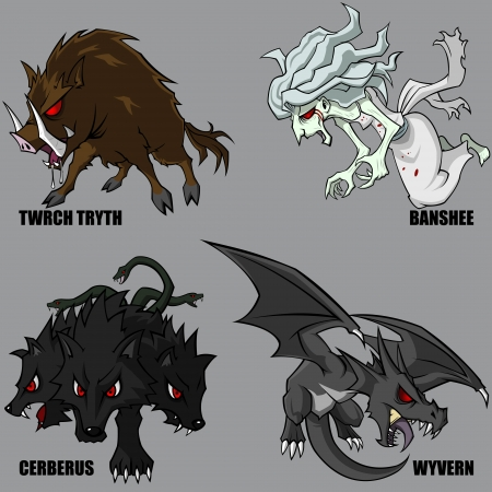 wyvern: 4 Graphic Of Mythical Creatures Set 08