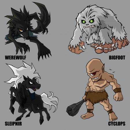 4 Gráfico de criaturas míticas Set 10 Ilustración de vector