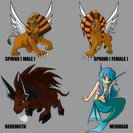 4 Graphic Of Mythical Creatures Set 11 Vector