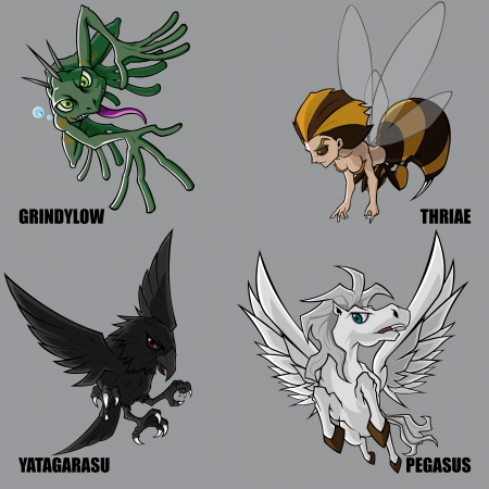 mythical: 4 Graphic Of Mythical Creatures Set 13