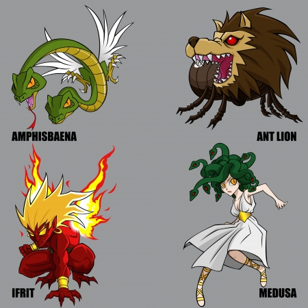 mythical: 4 Graphic Of Mythical Creatures Set 17