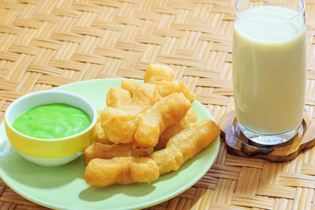 Dish of deep-fried dough stick and soymilk
