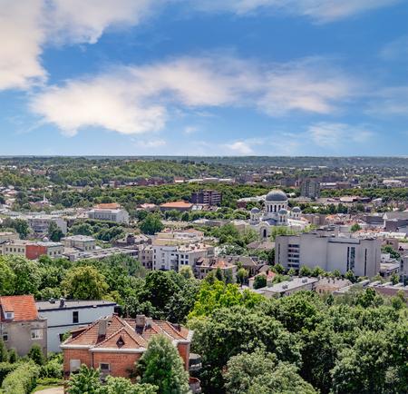 kaunas: Panoramic view of Kaunas city in summer