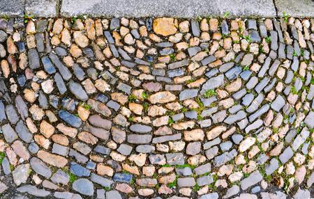 Old brick, stone and concrete pavement with grass for background. Top view. Banque d'images - 98602210