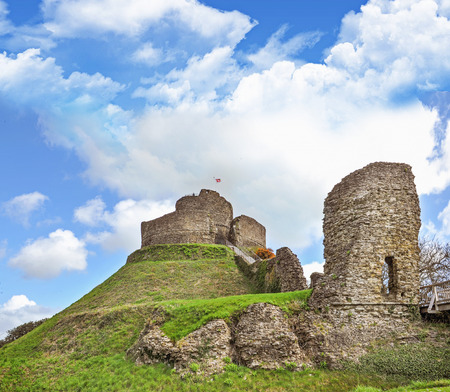 Launceston castle in the town of Launceston, Cornwall, England. It was probably built by Robert the Count of Mortain after 1068. Launceston Castle formed the administrative centre of the new earldom of Cornwall. It was rebuilt in stone in the 12th century. UK.