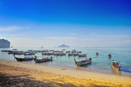 Boats on the ocean coast in the Gulf of Thailand Stockfoto