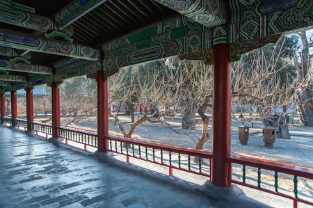 Interior details and a garden in winter in a chinese temple.