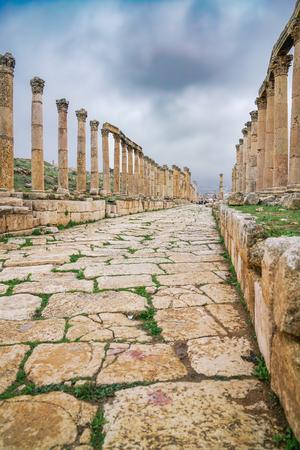 Cardo Maximus. Ancient Roman city of Gerasa of Antiquity, modern Jerash, Jordan Stockfoto