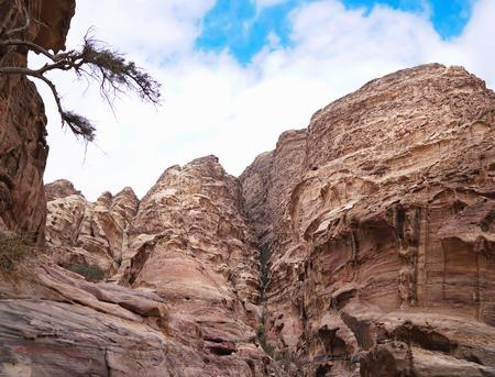 Ancient abandoned rock city of Petra in Jordan. Stockfoto