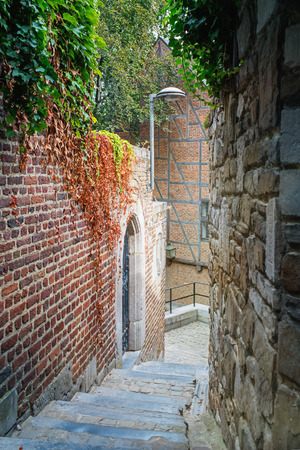 Stairs in an old town. Liege, Belgium.