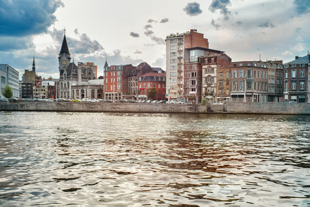 View of Meuse rivers quay. Liege, Belgium.