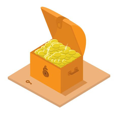 Chest of gold, isometry vector