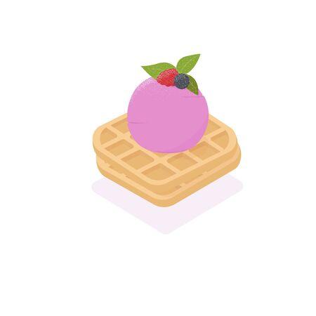 Waffle ice cream. vector