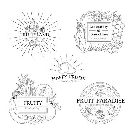 Conjunto de insignias de frutas, logotipos y elementos de diseño.