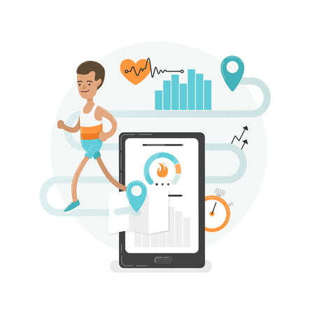 Fresh and modern illustration. A young running man with mobile app signes. Illustration