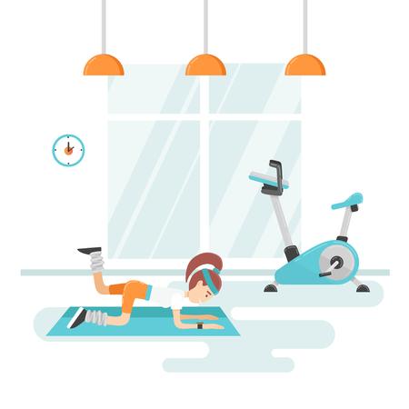 Stijlvolle en moderne illustratie van een meisje training in de sportschool.