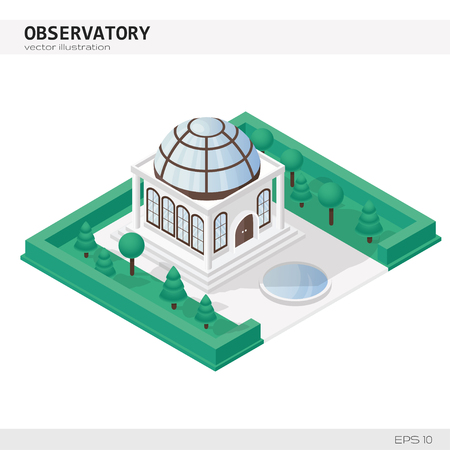 Isometric Observatory Building. Vector icon or infographic element