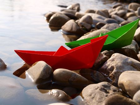 paper boat: Stranded paper boats