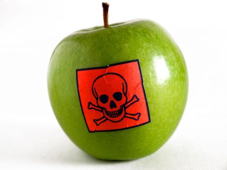 sprayed: Poisonous apple Stock Photo
