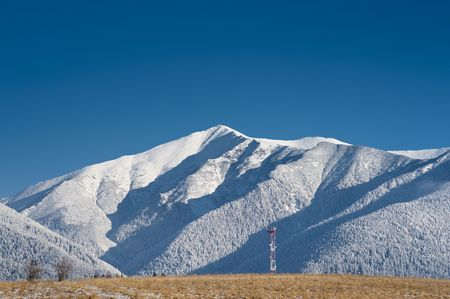 gsm: GSM tower on a field with white mountains in background, sunny day