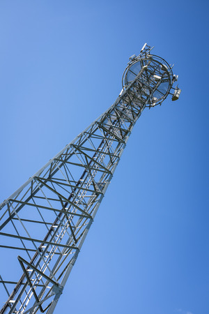gsm: metal GSM tower and blue sky in a sunny day
