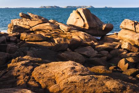 cote de granit rose: Cote de Granit Rose, ocean beach in sunny day