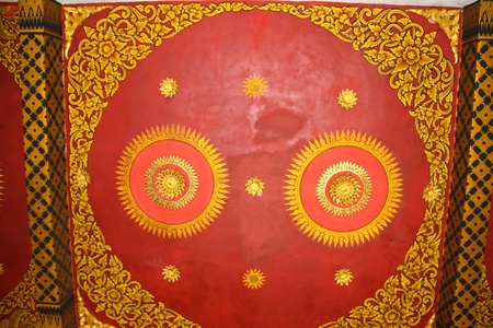 Painting the ceiling thai temple photo