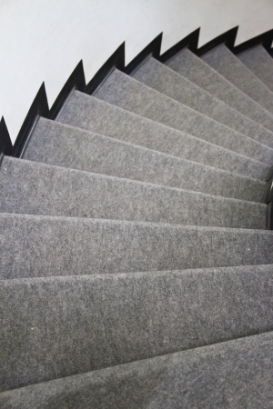 gray carpet on stair photo