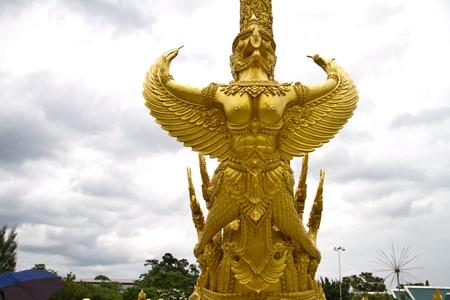 garuda: gold garuda statue, Ubonratchathani Thailand  Stock Photo