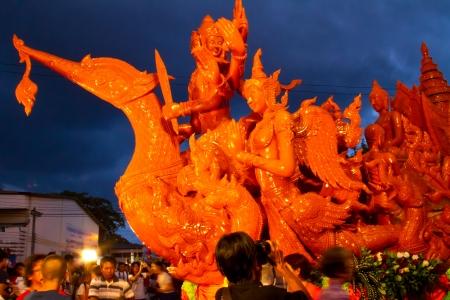 orenge: Candle festival in Ubonratchathani Thailand Editorial