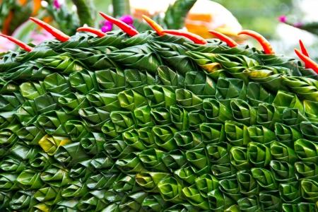 Art on banana leaf photo