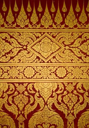 Thai art wall in temple Thailand Editorial