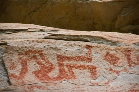painting on stone wall be prehistoric drawing age about 3,000 year, at patam of ubonratchathani thailand Editorial