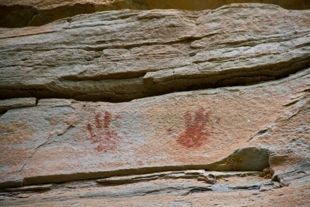 about age: painting on stone wall be prehistoric drawing age about 3,000 year, at patam of ubonratchathani thailand Editorial
