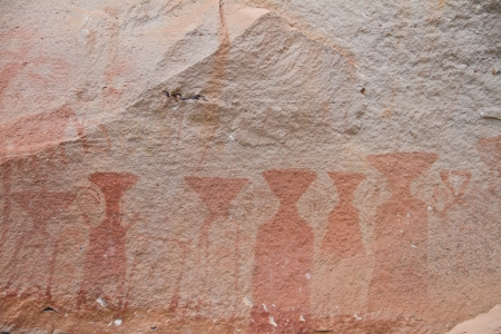 painting on stone wall be prehistoric drawing age about 3,000 year, at patam of ubonratchathani thailand Stock Photo - 14816562
