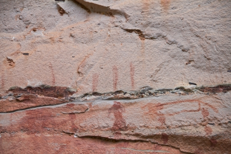 painting on stone wall be prehistoric drawing age about 3,000 year, at patam of ubonratchathani thailand Stock Photo - 14816563