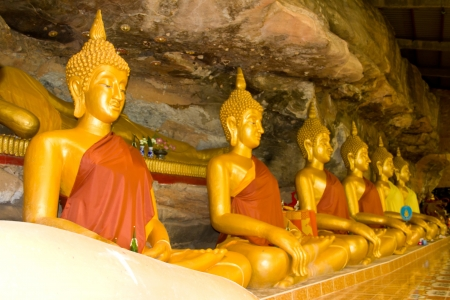 Buddha in thailand temple rock background Stock Photo - 14839583