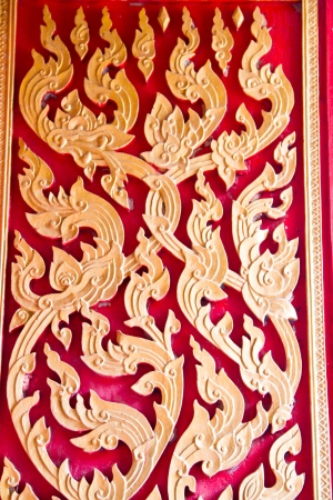 Art carved wood in thai temple photo
