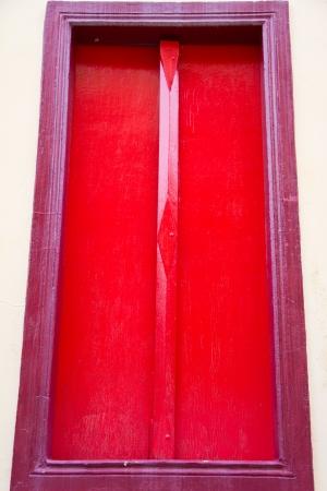 Thai temple red door photo
