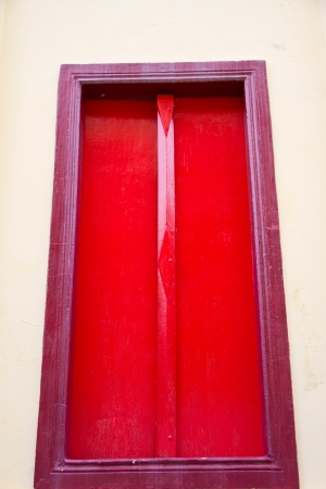 Thai temple red door photo
