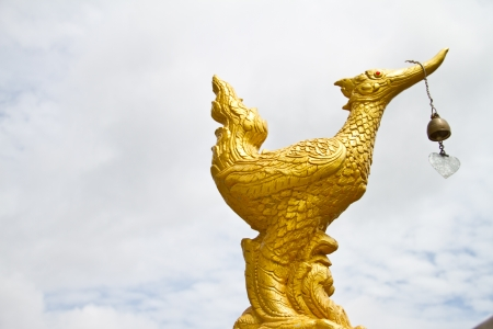 golden swan in thai temple photo