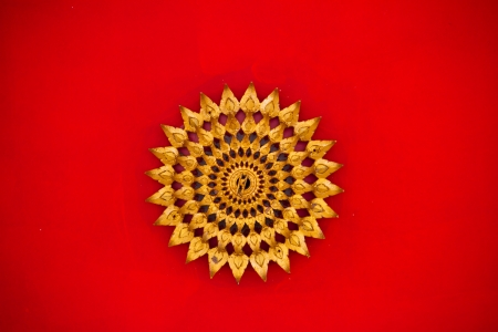 The art on red ceiling in thai temple, Thailand Stock Photo - 15165704